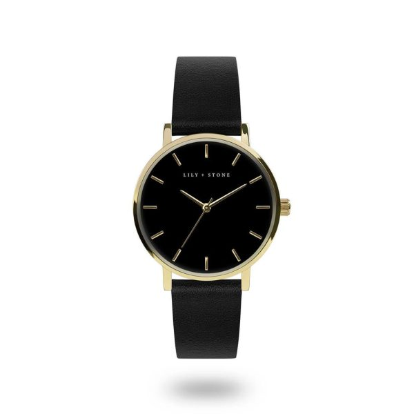 5th Avenue Collection // Gold & Black Face | Black Strap