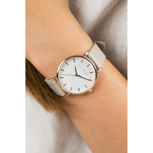 5th Avenue Collection // Rose Gold & White   Grey Strap