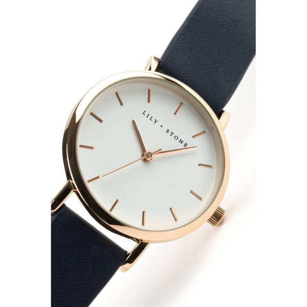 5th Avenue Collection // Rose Gold & White   Navy Strap