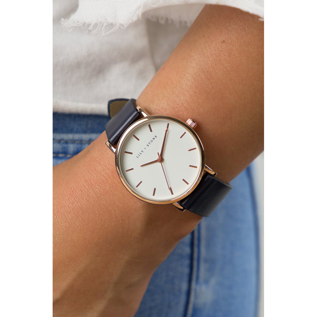 5th Avenue Collection // Rose Gold & White | Navy Strap