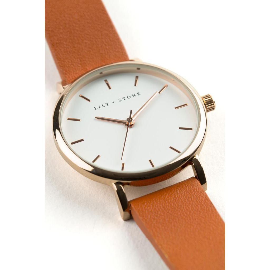 5th Avenue Collection // Rose Gold & White   Tan Strap