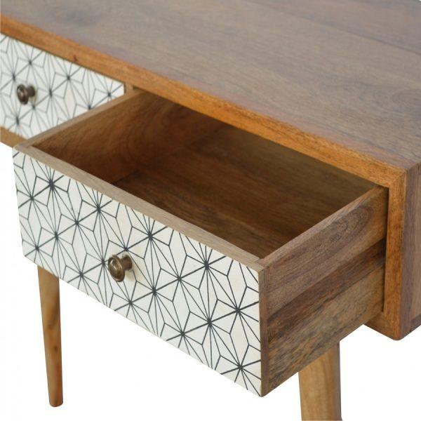 Mango Hill 3 Drawer Geometric-Screen-Printed Writing Desk