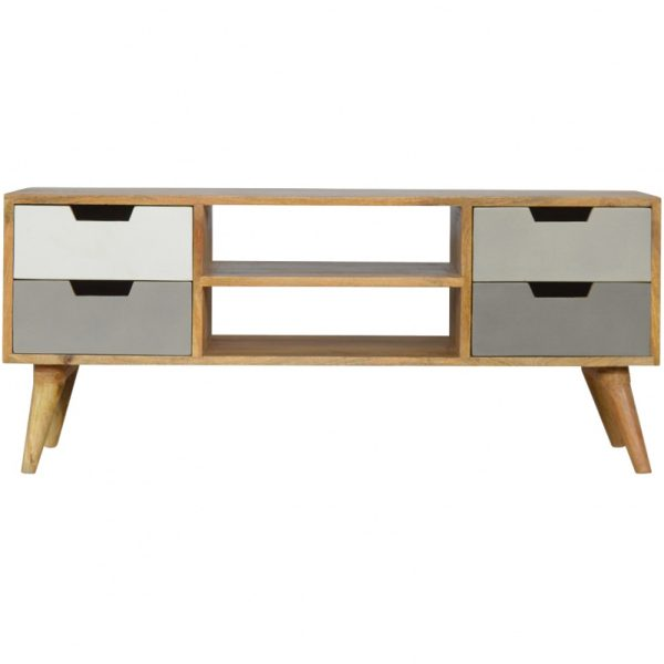 Mango Hill Media Unit with 4 Grey Hand-Painted Drawers and 2 Open Slots