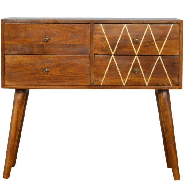Mango Hill Nordic Style Console Table with 4 Brass Inlay Front Drawers