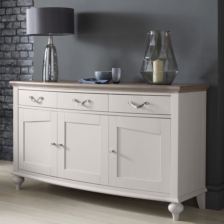 Montreux Washed Oak Soft Grey Wide Sideboard