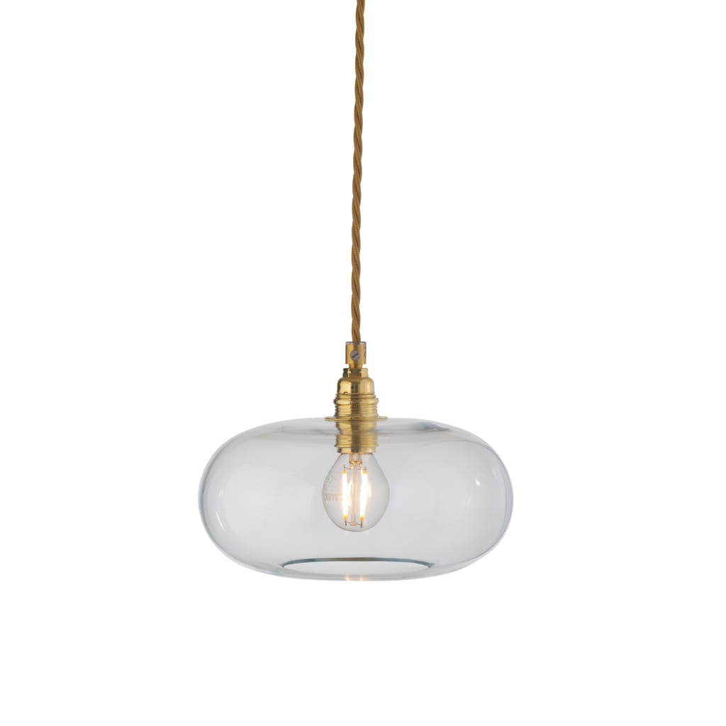 Horizon Pendant Lamp, Clear With Gold, 21cm