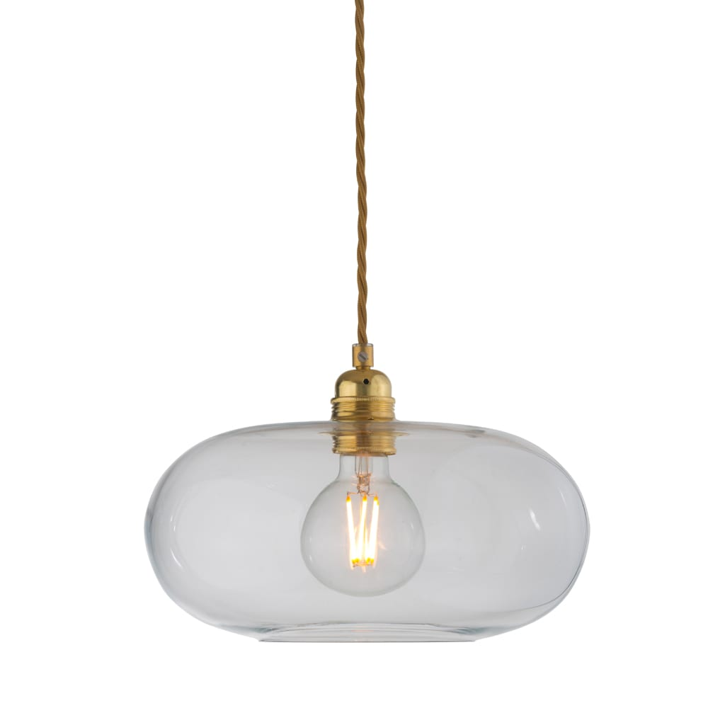 Horizon Pendant Lamp, Clear With Gold, 29cm
