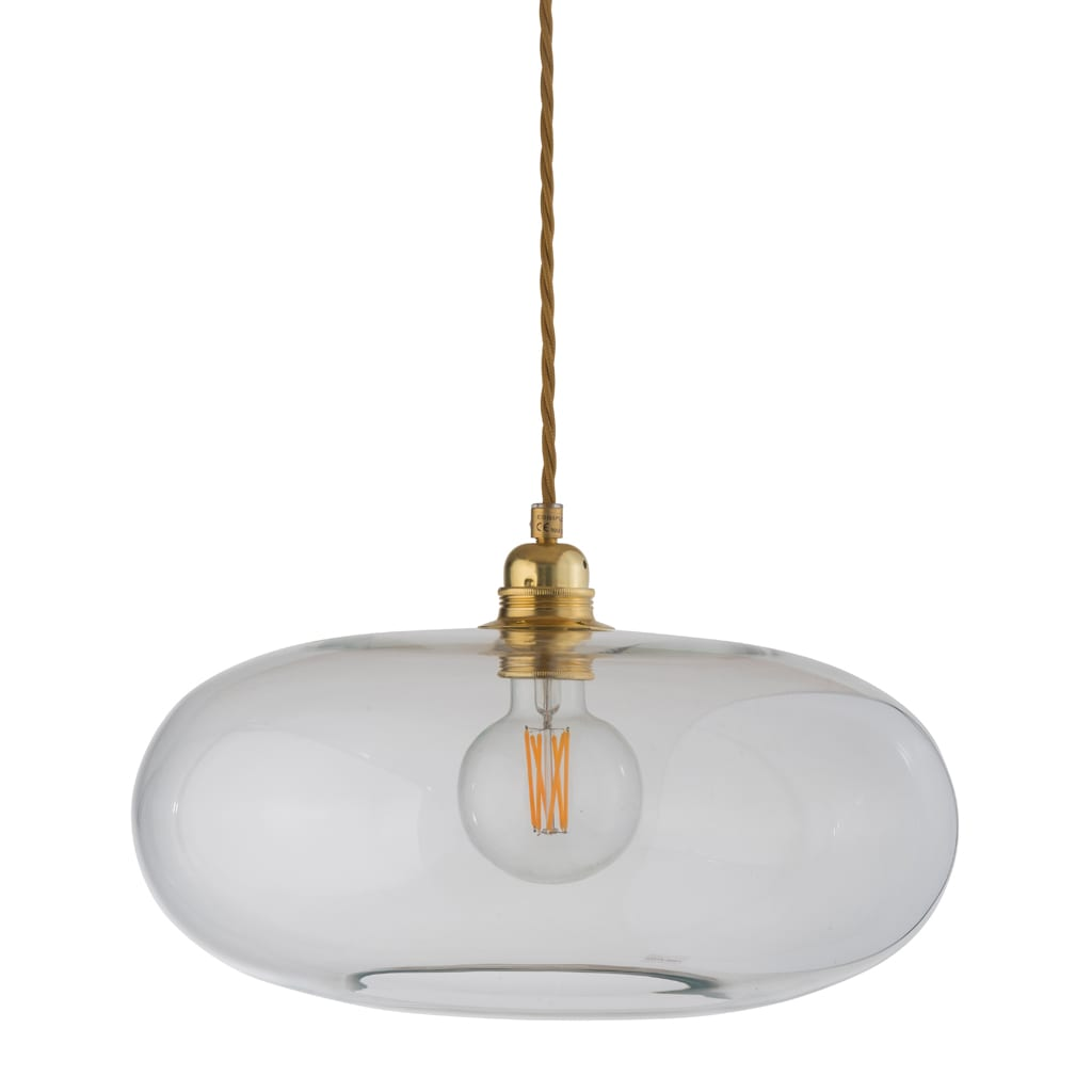 Horizon Pendant Lamp, Clear With Gold, 36cm