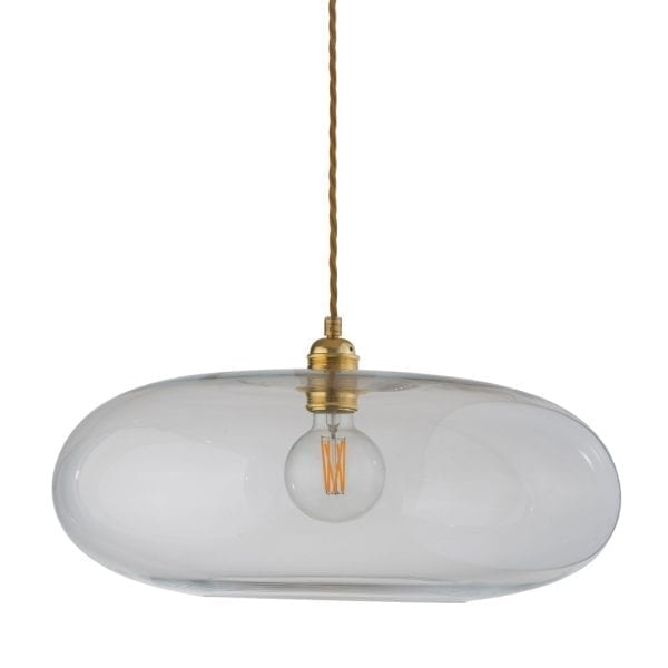 Horizon Pendant Lamp, Clear With Gold, 45cm