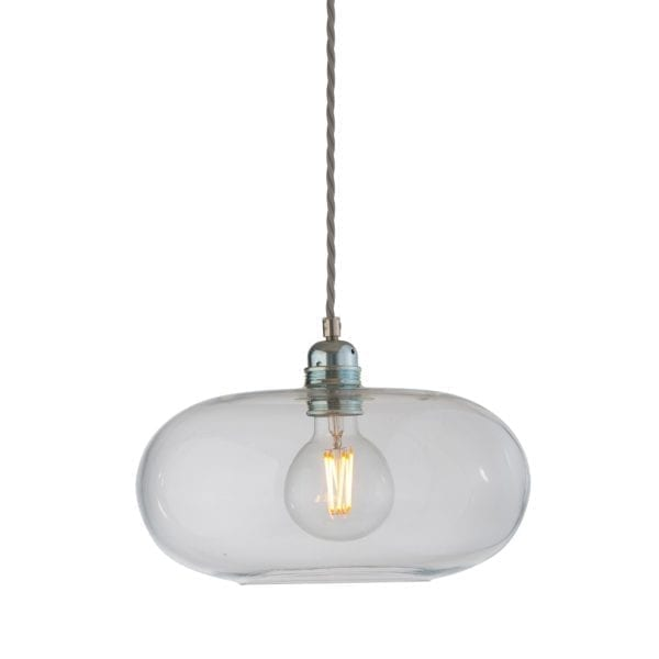 Horizon Pendant Lamp, Clear With Silver, 29cm