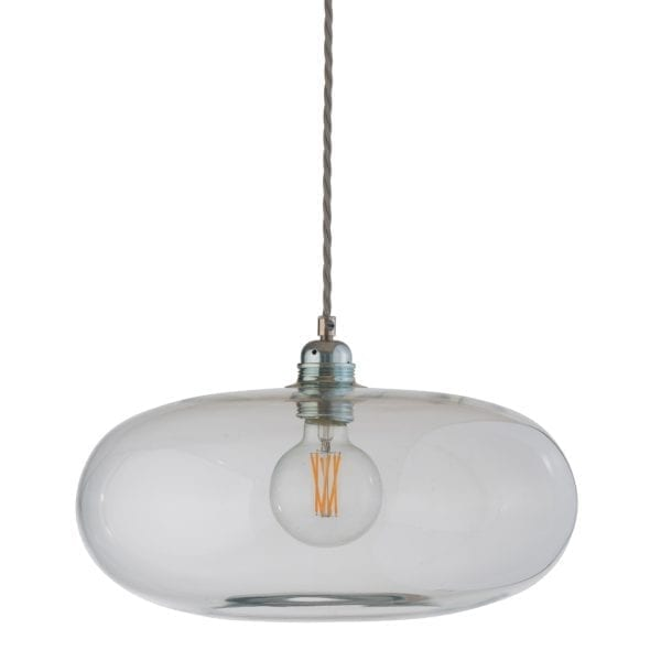 Horizon Pendant Lamp, Clear With Silver, 36cm