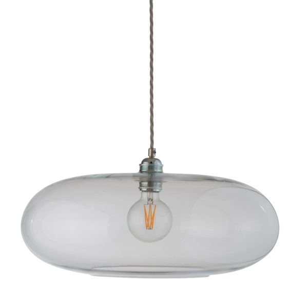 Horizon Pendant Lamp, Clear With Silver, 45cm