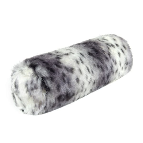Arctic Leopard Faux Fur Bolster Cushion