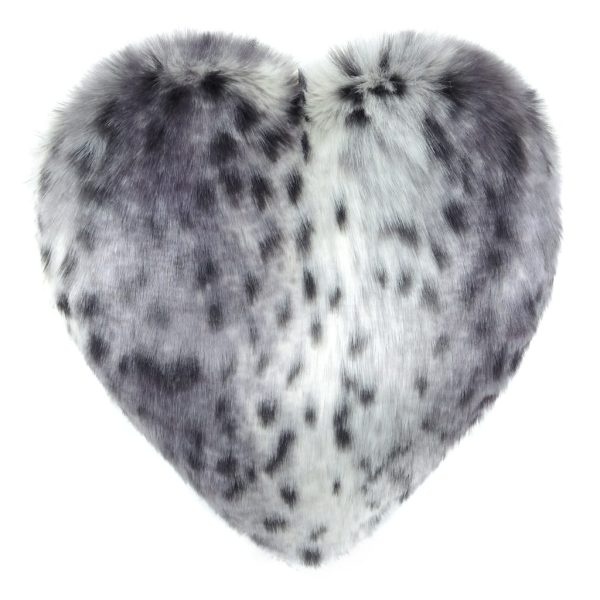 Arctic Leopard Faux Fur Heart Cushion