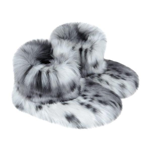 Arctic Leopard Faux Fur Slipper Boots
