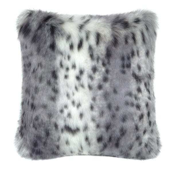 Arctic Leopard Faux Fur Square Cushion