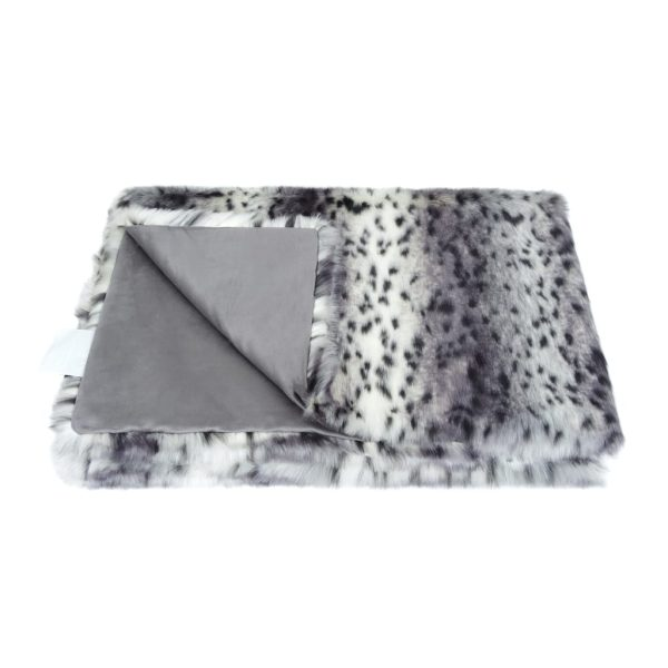 Arctic Leopard Faux Fur Throw