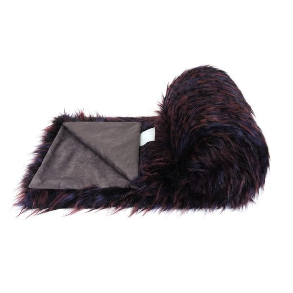 Berry Faux Fur Bed Runner