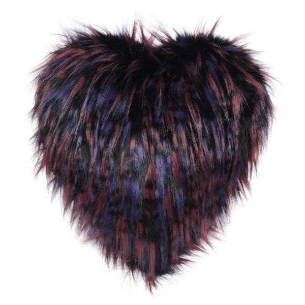 Berry Faux Fur Heart Cushion