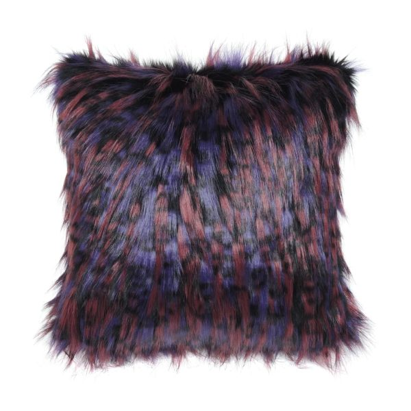 Berry Faux Fur Square Cushion