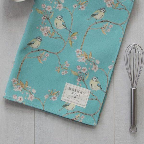 Blue Tit on Blossom Ditsy Print Tea Towel