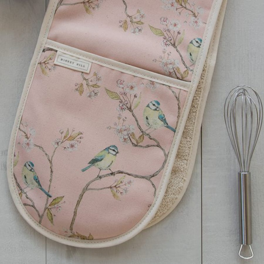 Blue Tit on Blossom Double Ditsy Print Oven Gloves