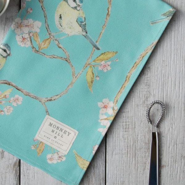 Blue Tit on Blossom Tea Towel