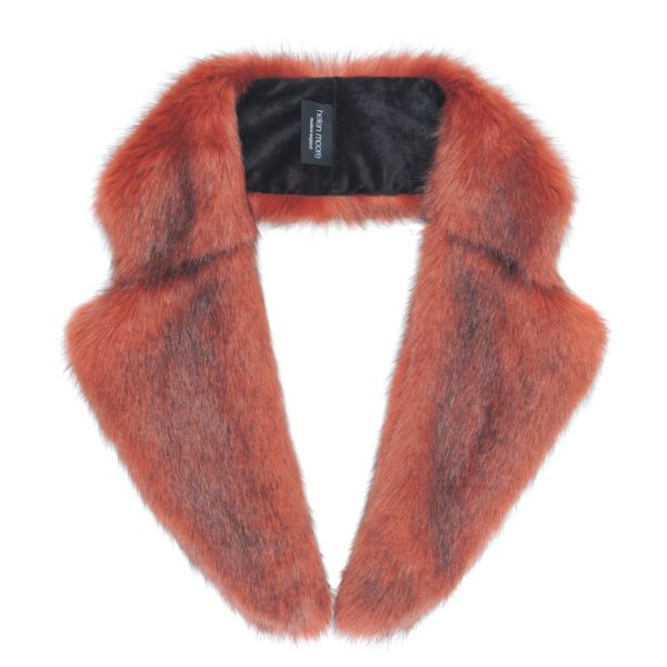 Brick Faux Fur Lapel Collar