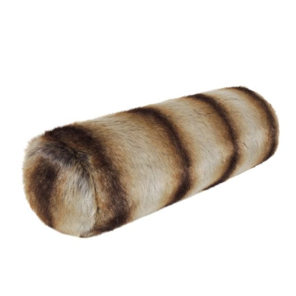 Brown Chinchilla Faux Fur Bolster Cushion
