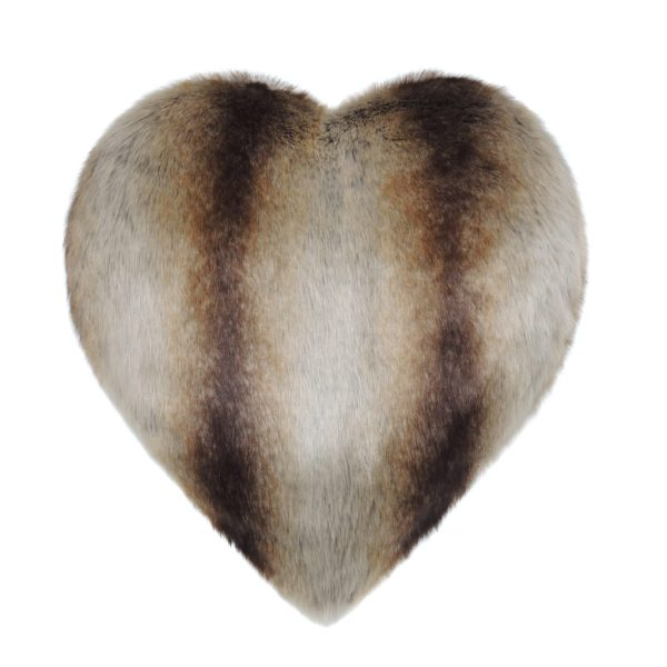 Brown Chinchilla Faux Fur Heart Cushion