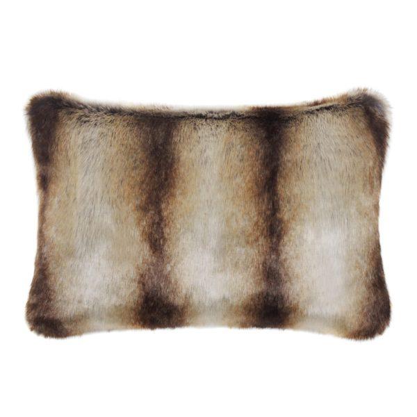 Brown Chinchilla Faux Fur Rectangular Cushion