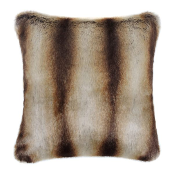 Brown Chinchilla Faux Fur Square Cushion