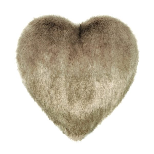 Camel Faux Fur Heart Cushion