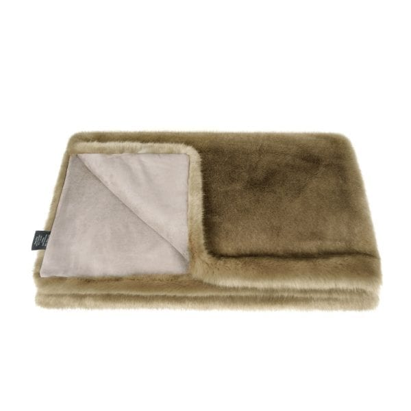 Camel Faux Fur Throw