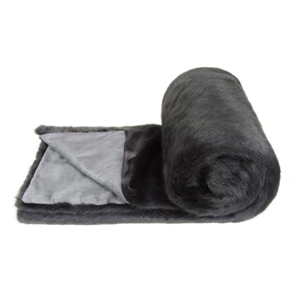 Charcoal Faux Fur Bed Runner