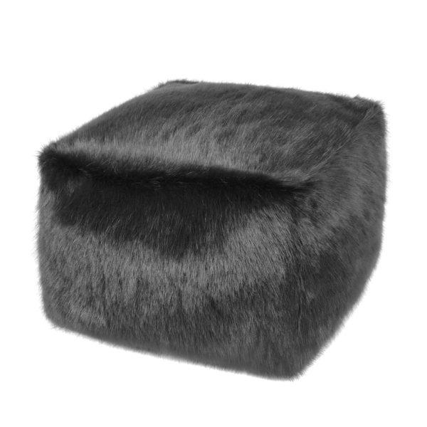 Charcoal Faux Fur Cube