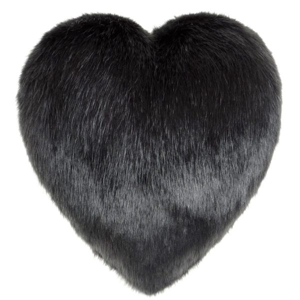 Charcoal Faux Fur Heart Cushion