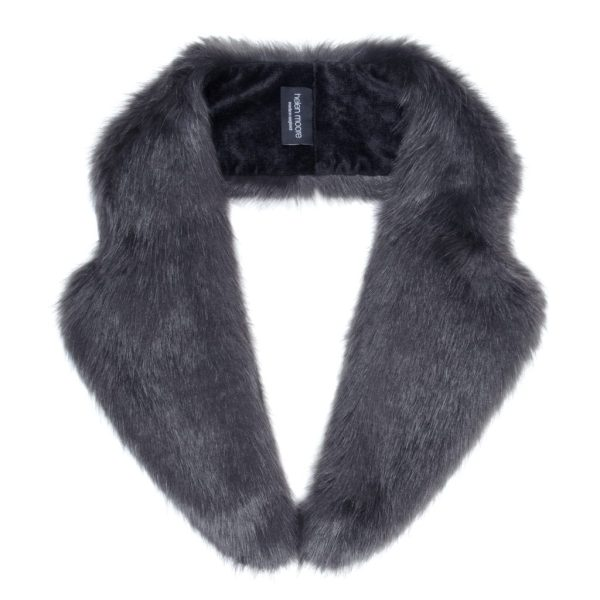 Charcoal Faux Fur Lapel Collar