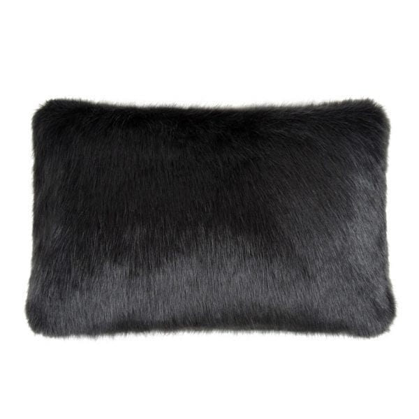 Charcoal Faux Fur Rectangular Cushion