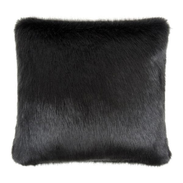 Charcoal Faux Fur Square Cushion