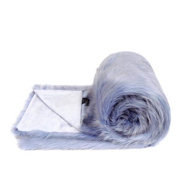 Cornflower Faux Fur Bed Runner
