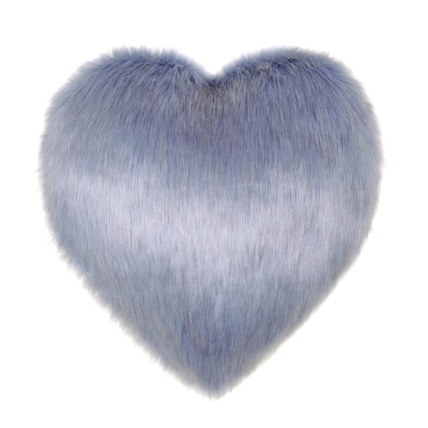 Cornflower Faux Fur Heart Cushion