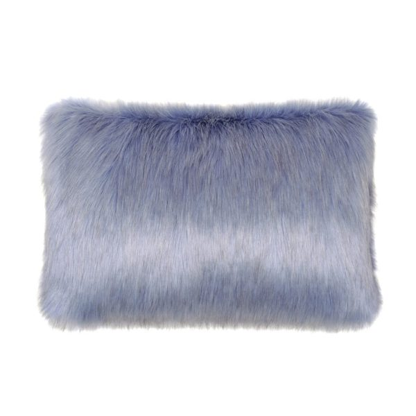 Cornflower Faux Fur Rectangular Cushion