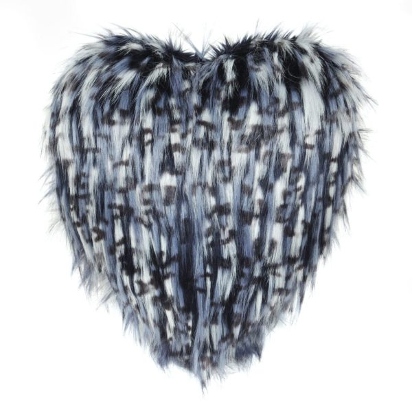 Denim Faux Fur Heart Cushion
