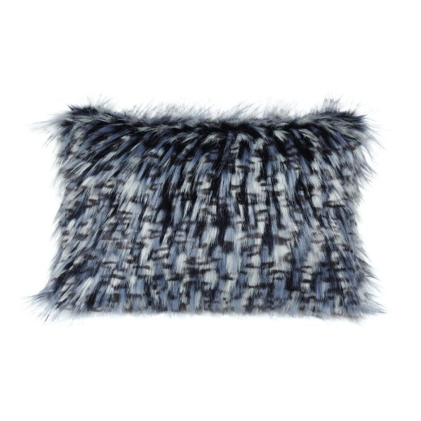 Denim Faux Fur Rectangular Cushion