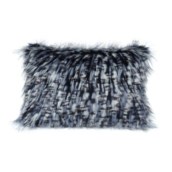 Denim Faux Fur Rectangular Cushion