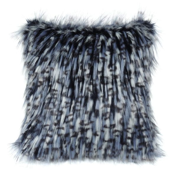 Denim Faux Fur Square Cushion