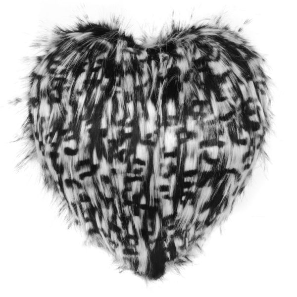 Domino Faux Fur Heart Cushion