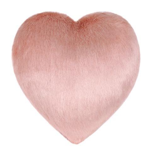 Dusky Faux Fur Heart Cushion