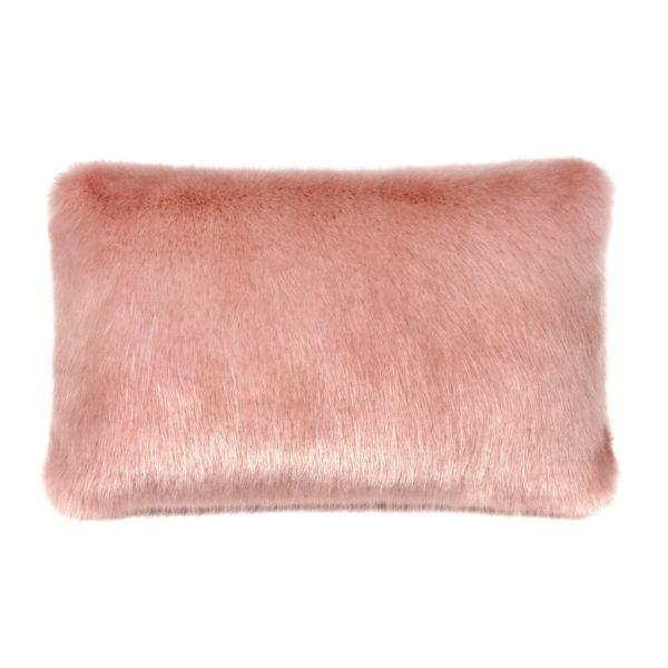 Dusky Faux Fur Rectangular Cushion